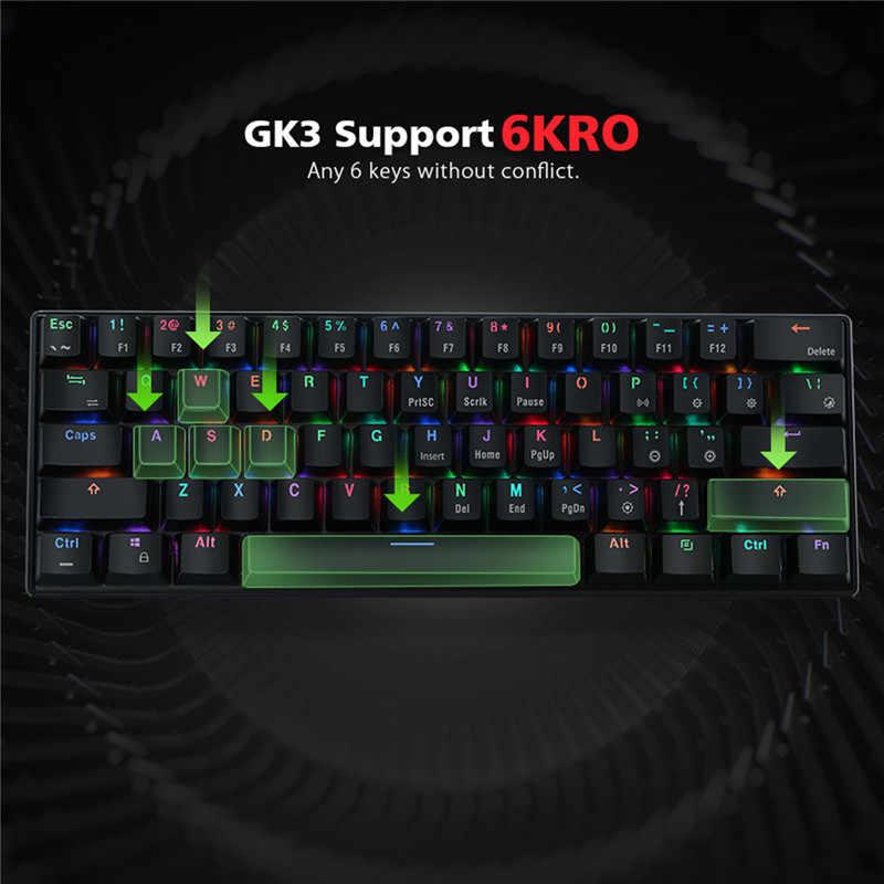 MantisTek GK3-61 bluetooth Проводной Двойной режим переключатель Cherry RGB 60% Механическая игровая светодиодная подсветка клавиатуры эргономичная игровая клавиатура
