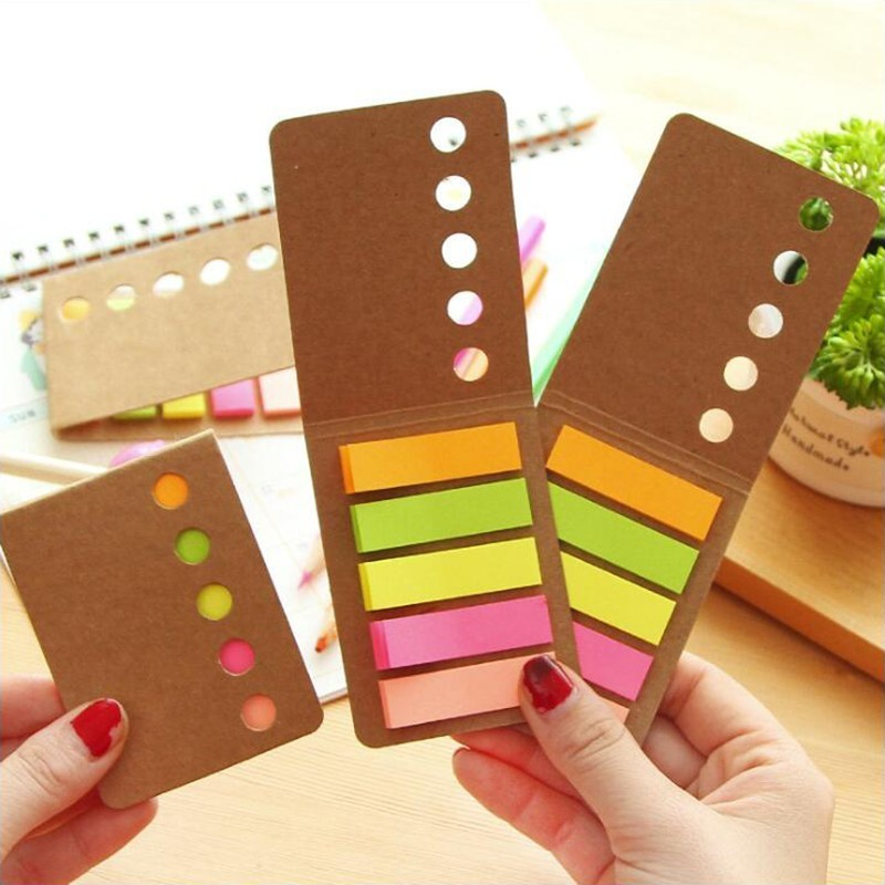 5 Color Simple Memo Pads Sticky Notes Self- Adhesive Decorative Sticker Office Stationery School Supplies 1PCS
