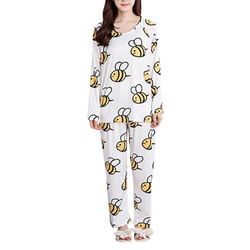Autumn Women's Single-side Milk Silk Sweet Little Bee Cartoon Leisure Wear Thin Casual Long Sleeve   Pajamas     Set