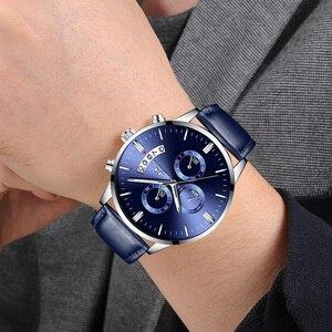 Image 5 - MEGALITH ساعة عادية بسيطة للرجل جلد طبيعي ساعات المعصم مقاوم للماء كرونوغراف تاريخ التقويم ساعات كوارتز ساعة الذكور