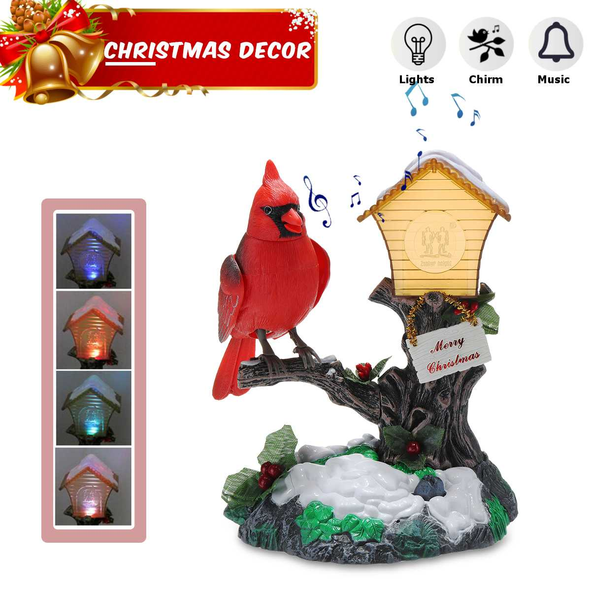 Electronic Bird In Cage Lovely Sound Activated Heartful Bird Xmas Gift Kid Toy Electronic, Battery & Wind-up Battery Operated