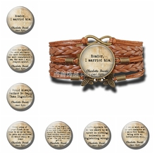 Charlotte Bronte Inspirational Quote Leather Double Multilayer Braided Bracelets Glass Infinite Jewelry Jane Eyre Book Lovers jane bronte jane eyre