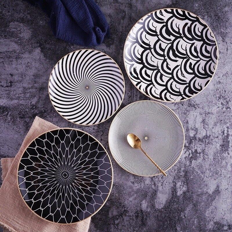 Vaisselle en céramique assiette à Dessert   Vaisselle à géométrie de Phnom Penh 6 pièces 8 /10 pouces, assiette à dîner en porcelaine, assiette à gâteau - 4