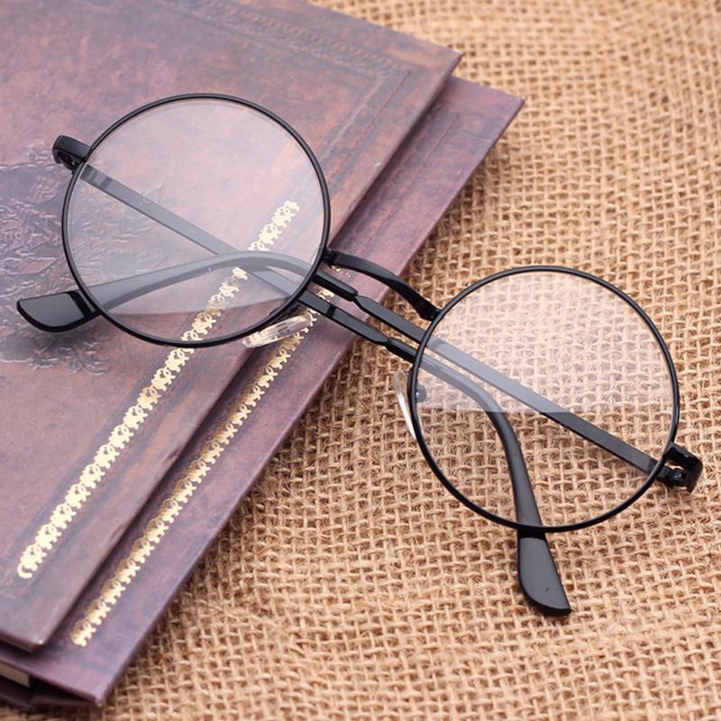 Round Metal Decorative Plain Eyewear Glass Unisex Fashion Optical Glasses UV Protective Windproof Eyeglasses
