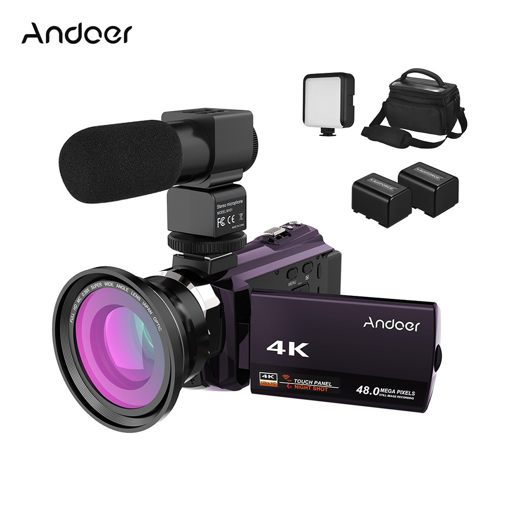 Andoer 4K Camcord 1080P 48MP WiFi Digital Video Camera With 0.39X Wide Angle Macro Lens+Microphone+LED Video Light+Camera Bag