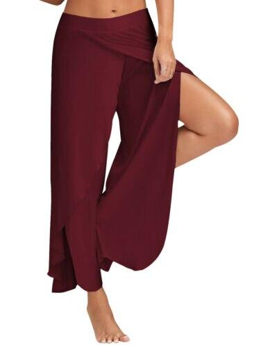 Summer Women Wide Leg Pants Plus Size Casual Loose Long Side Split