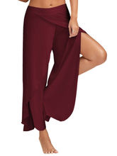 Summer Women Wide Leg Pants Plus Size Casual Loose Long Side Split