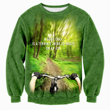 Hipster 3D Print Forest Trees Road Bicycle Sweatshirts Men/women Gothic Streetwear Hoodies Boys Modis Outwear Man Green Clothes