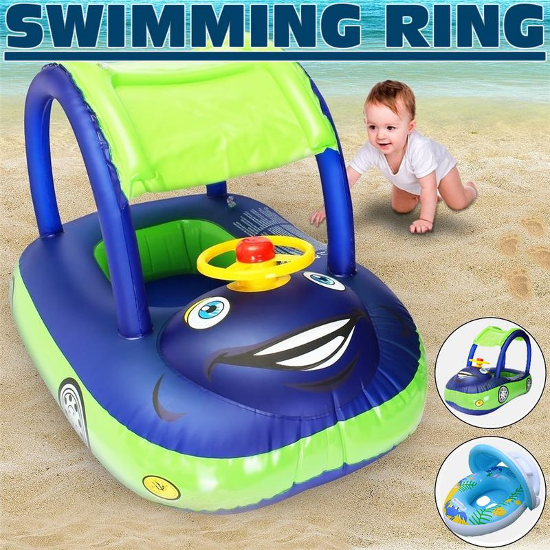 Summer Steering Wheel Sunshade Swim Ring Car Inflatable Baby Float Seat Boat Pool Tools Accessories For Kids Toys