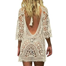 Women Summer Backless Beach Loose Drees Casual Crochet Sexy Lace Mini