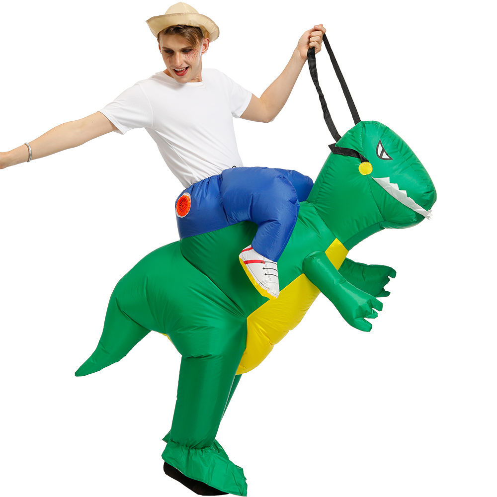 Purim Costume Halloween Animal Cosplay Inflatable Green Dinosaur Fan Operated Costumes for Adult