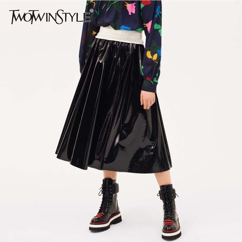 TWOTWINSTYLE PU Leather Women s Pleated Skirt High Waist Midi Skirts For Women Big Sizes Autumn