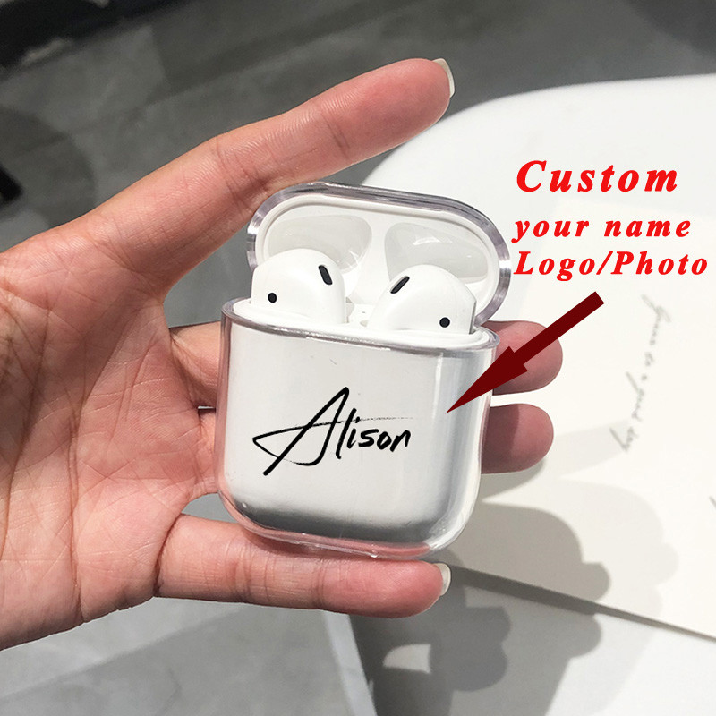 Customized name/logo/photo Hard Plastic Case For Air Pods Cover for Bluetooth Wireless Earphone Protective Accessory Case DIYCustomized name/logo/photo Hard Plastic Case For Air Pods Cover for Bluetooth Wireless Earphone Protective Accessory Case DIY