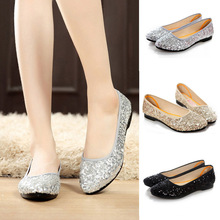 YJSFG HOUSE Lady Bling Sequined Ballet Shoes Silver Gold Col