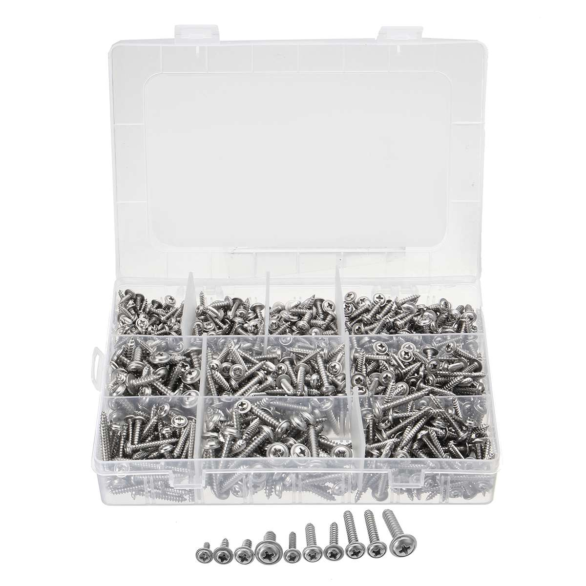 900PCS Stainless Steel Screws Kits High strength Self-Tapping Screws Assortment Set For Wood Furniture  4g 6g 8g 10g900PCS Stainless Steel Screws Kits High strength Self-Tapping Screws Assortment Set For Wood Furniture  4g 6g 8g 10g