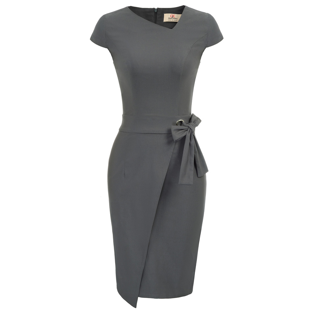 GK Women Vintage Cap Sleeve Irregular Neck Collect Waist Bodycon Pencil Dress