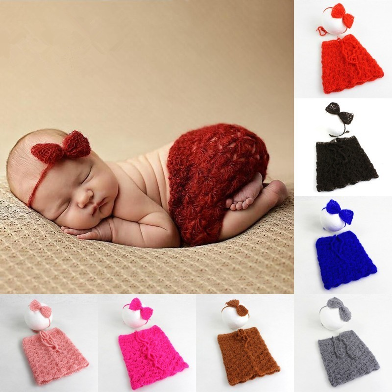 Newborn Photography Props Soft Mohair Baby Headdress+Skirt Set European Baby Girl Photo Modeling Clothing Baby Accessories Photo