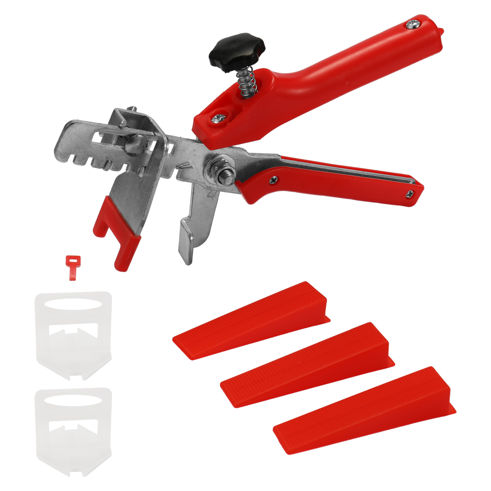 Accurate Tile Leveling System 100 Clips + 100 Wedges + 1Tile Pliers Floor Wall Flat Leveler Plastic Spacers Constructions Tool
