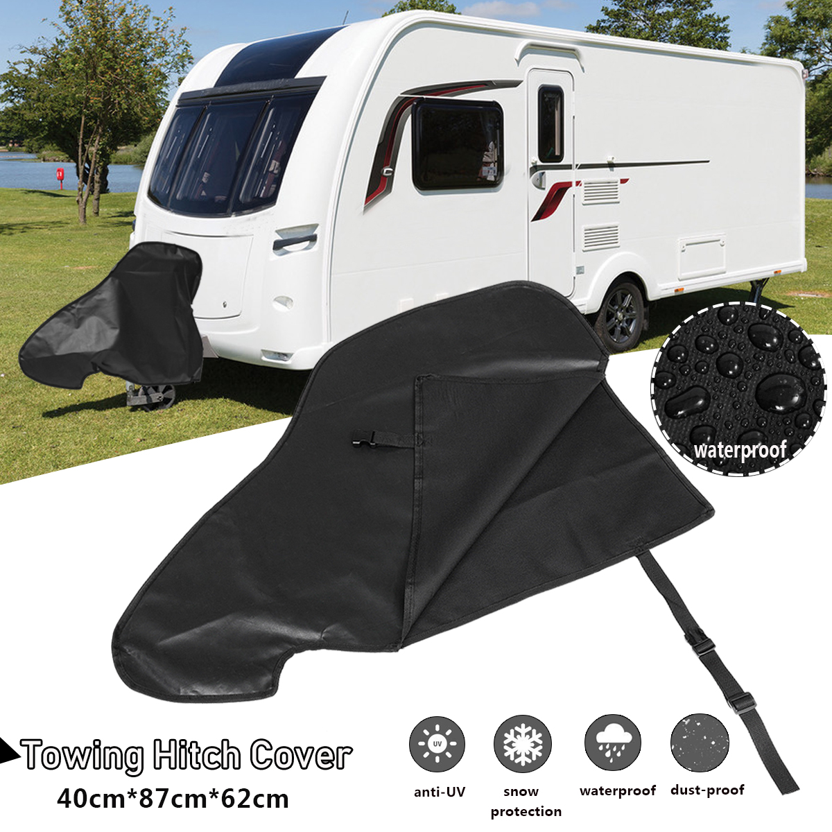 Dustproof-Protector Hitch-Cover Caravan Rain Rv-Tailer Waterproof Towing for 87x62x40cm