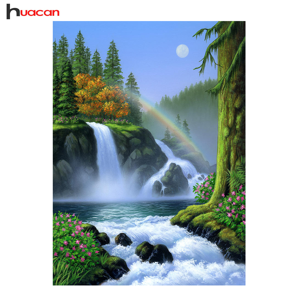 Huacan Diamond Mosaic Scenery Picture Rhinestones Cross Stitch Diamond Embroidery Waterfall Full Square Crystal Home Decoration