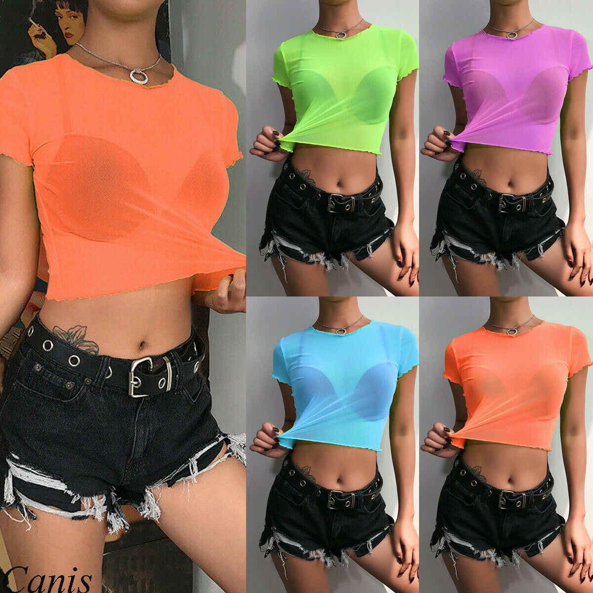 Heiße Frauen Sheer Mesh Fisch Net T-Shirts Tops Feste Kurze Hülse Sehen Crop Top Mini T-Shirt Sommer