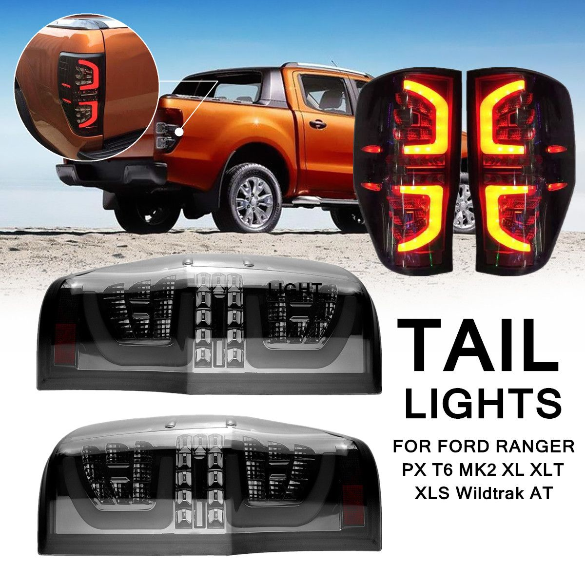 1Pair Smoked LED Rear Tail Lights Lamp for Ford Ranger PX T6 MK2 XL XLT XLS Wildtrak AT Making Installation Breeze match factory