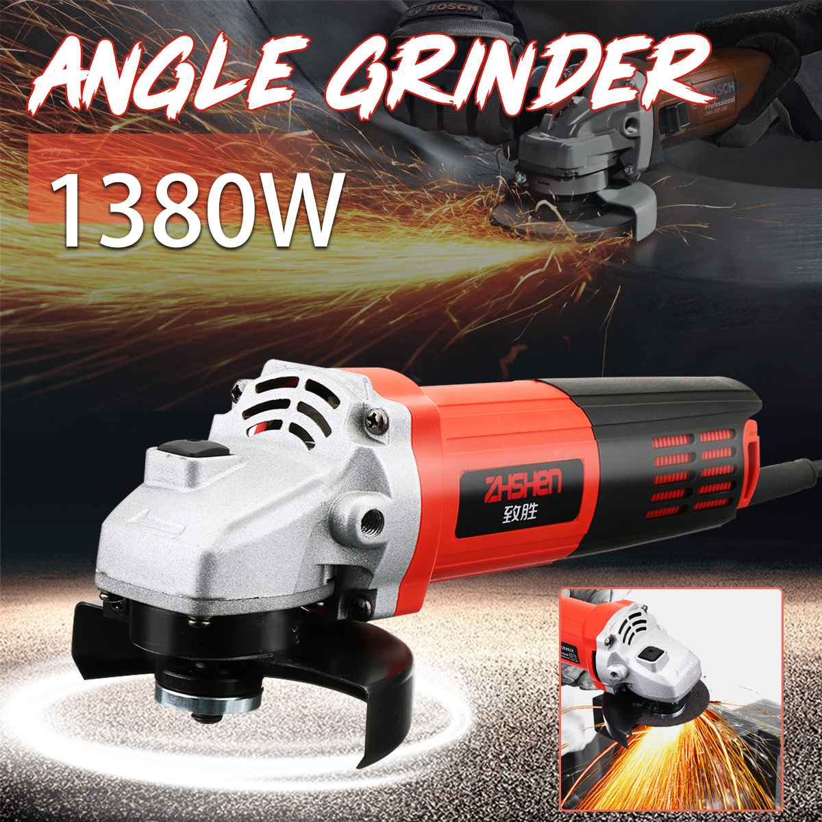 220V/50Hz 1380W 11000r/min Angle Grinder Electric Angle Grinding Metal Wood  Cutting and grinding Machine  Power Tool220V/50Hz 1380W 11000r/min Angle Grinder Electric Angle Grinding Metal Wood  Cutting and grinding Machine  Power Tool