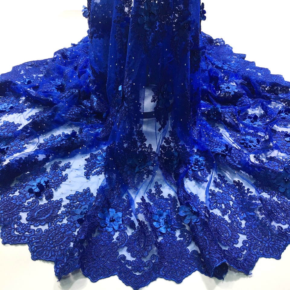 3d Lace Fabric 2018 High Quality Lace Blue African Lace Appliqun With Beaded Embroidered Lace Trim