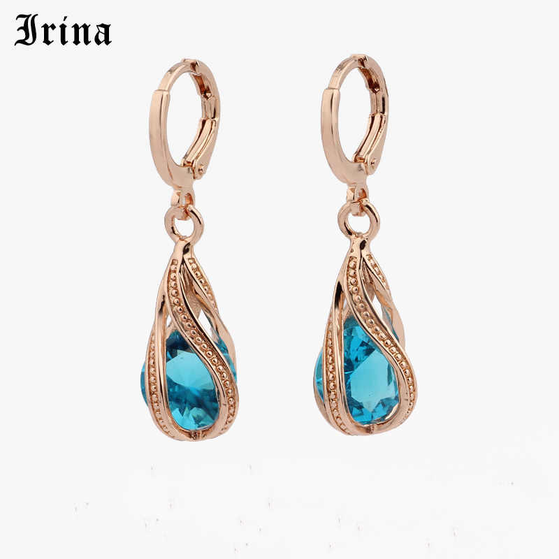 Irina 585 Free shipping Trendy New Women's Rose Gold Color Water Drop  Dangle Drop Earrings Jewelry Gift  earrings