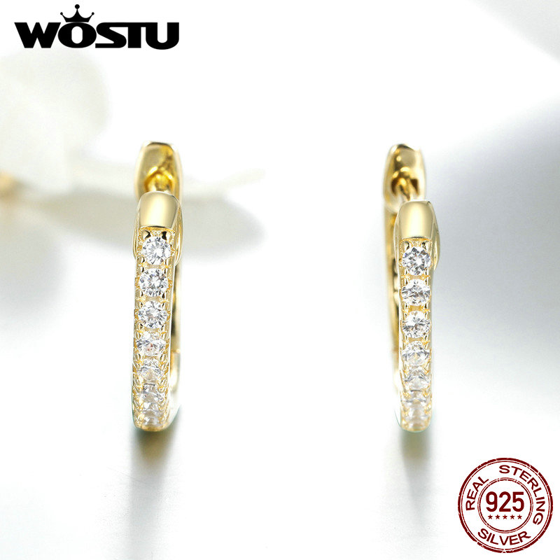 WOSTU Hot Sale 925 Sterling Silver & Gold Color Small Circle Hoop Earrings For Women Birthday Simple Noble Jewelry Gift CQE498 5