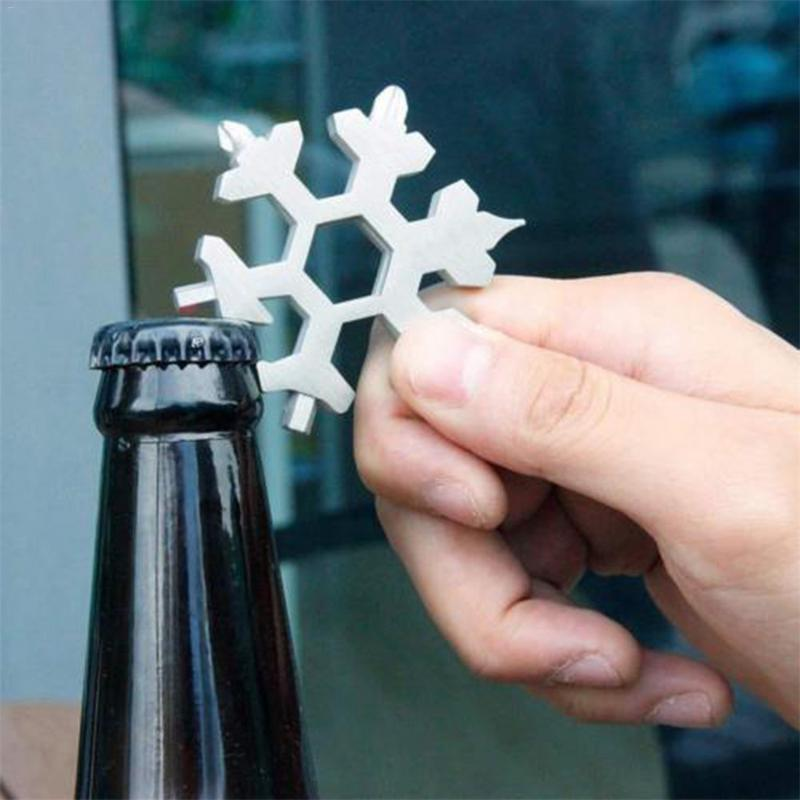 Wholesale 18-in-1 Multi-tool Card Beer Bottle Opener Combination Compact And Portable Outdoor Products Snowflake Tool Card