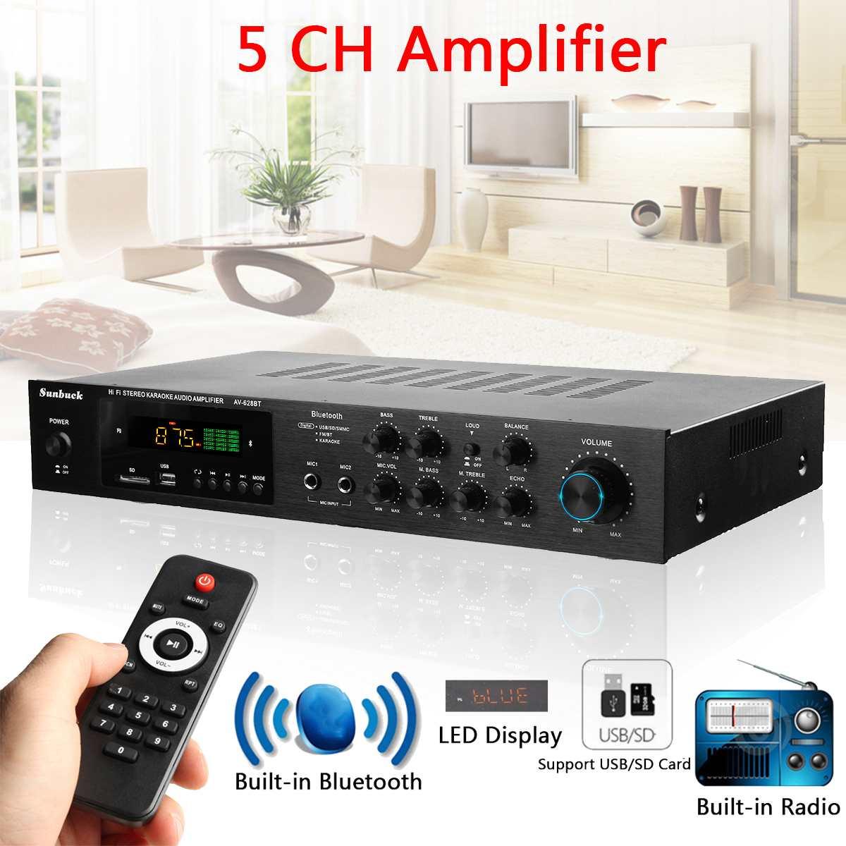 Sans fil Version USB/SD amplificateur audio 1120 W 5CH bluetooth Amplificateur De Puissance Stéréo Surround Maison Karaoké Cinéma
