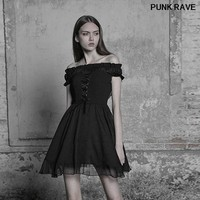 Gothic Black Bandage Elegant Mini sexy A line Dress Lolita Off Shoulder Chiffon Ruffles Party dress Two wear PUNK RAVE OPQ 338