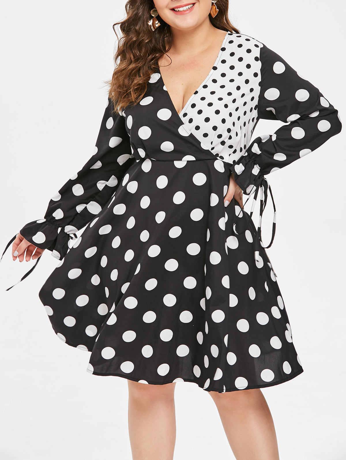 Wisalo женское платье большого размера в горошек, контрастное платье для серфинга, v-образный вырез, завышенная талия, завязанное расклешенными рукавами, Повседневное платье 5XL Vestidos