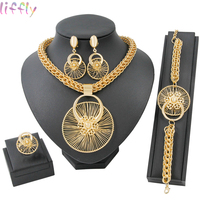 Hot African Beads Jewelry Sets for Women Wedding Vintage Dubai Gold Jewellery Sets Necklace Ring Fashion Earring Jewelry Gift