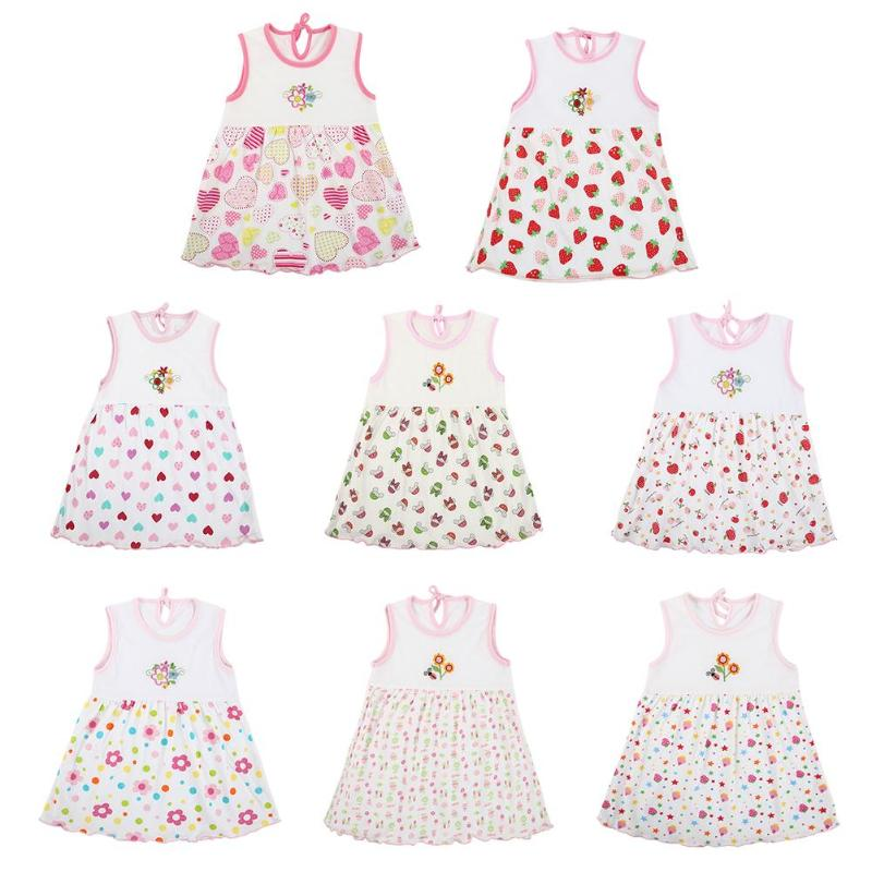1PC Newborn Baby Summer Dress Girls Flower Print Sleeveless O-Neck Embroidered Mini Dresses Girls Princess Dress Clothing Random