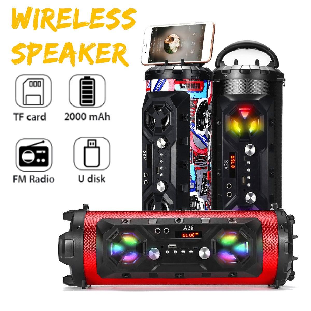 20 W Portable extérieur bluetooth 4.2 haut-parleur colonne basse lourde sans fil stéréo barre de son Subwoofer enceinte LED FM USB AUX TF carte