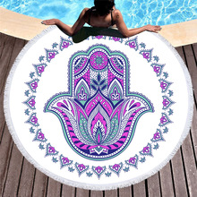 Mandala Round Beach Towel Circle Tassels Lotus Floral Printed Yoga Mat Picnic Oversize Microfiber Towel Bath 150cm Toallas Terry mandala lotus lotus printed long fringe round beach towel