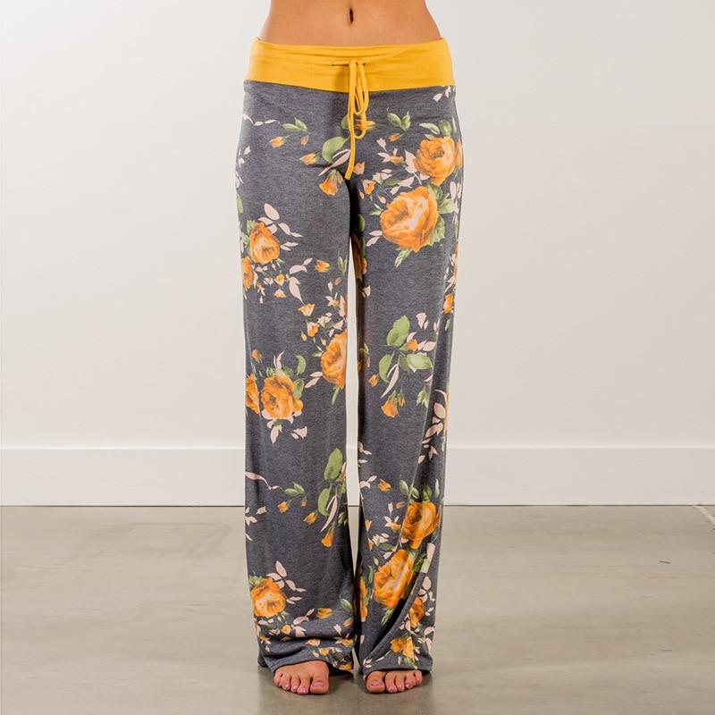 Autumn Women Flower Print   Pants   High Waist   Wide     Leg     Pants   Casual Loose Drawstring Long Trousers Female Plus Size
