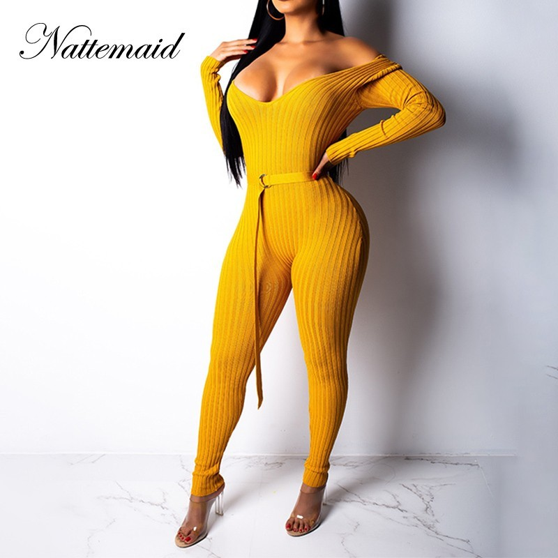 9f414a68290f NATTEMAID Long Sleeve Sweater Knitted Jumpsuit Rompers Womens Jumpsuits For  Women 2018 Off Shoulder Sexy Bodycon Winter Jumpsuit