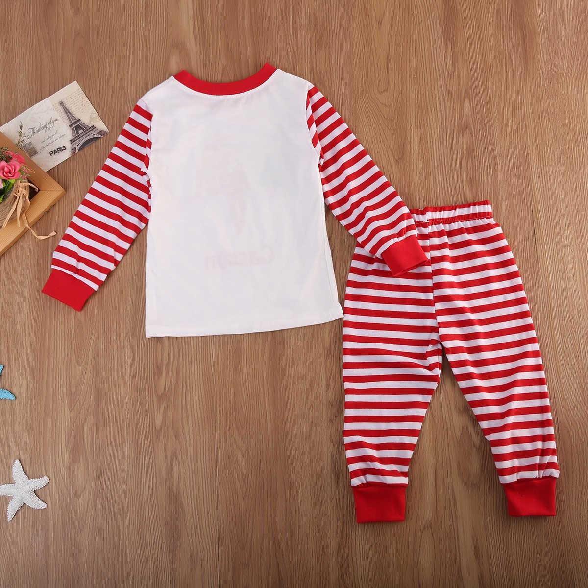 ... Family Matching Christmas Winter Warm Pajamas Sets Adult Kids Xmas Cute  Santa Letter Printing Stripe Sleepwear ... dbdf9b354