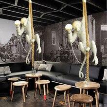 Nordic 7 Color Hemp Rope Monkey Lamp Pendant Lights Art Replicas Resin Hanging Bar Decoration Kitchen Fixtures