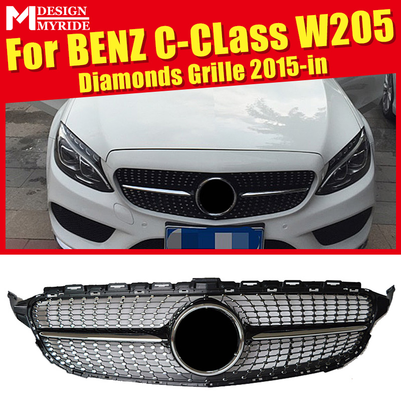 For W205 Diamonds Sport Fronty Bumper Grille ABS Black C-Class C180 C200 C230 C250 C280 Without emblem Front 2015-in