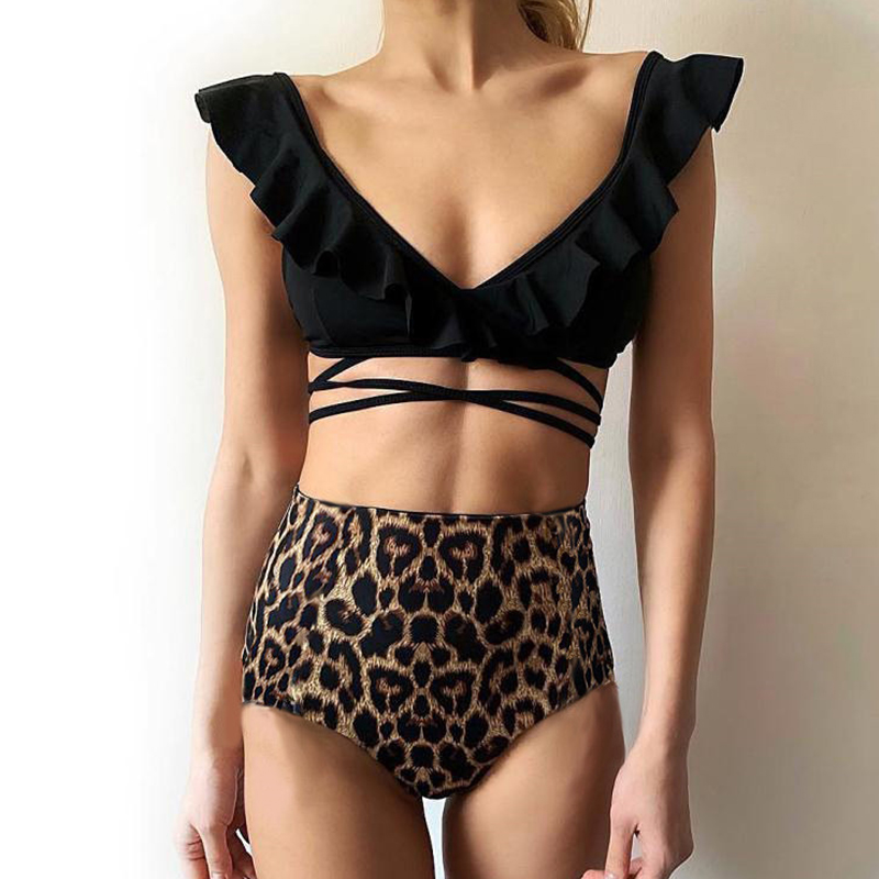 Bikinx Ruffles high waist bikinis 2019 mujer bathers Push up deep v-neck swimsuit Bandage sexy swimwear women bathing suit new 4
