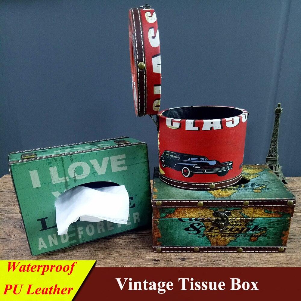 2Pcs European Vintage Tissue Box Case Square Paper Napkin Box Holder for Table Decoration Home Paper