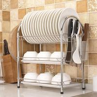 2 3 Tiers Dish Drying Rack Kitchen Washing Holder Basket Plated Iron Kitchen Knife Sink Dish Drainer Drying Rack Organizer