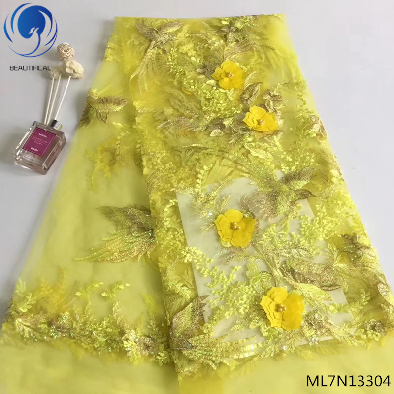 BEAUTIFICAL lace fabric 2018 embroidery 3d french lace fabric 3d tulle lace fabric beaded flowers yellow color hot sales ML7N133BEAUTIFICAL lace fabric 2018 embroidery 3d french lace fabric 3d tulle lace fabric beaded flowers yellow color hot sales ML7N133