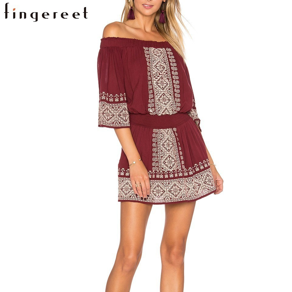 Red wine color dress with white floral printing Restore Ancient Ways bare shoulders Embroidery Strapless 1/2 Sleeve Dress