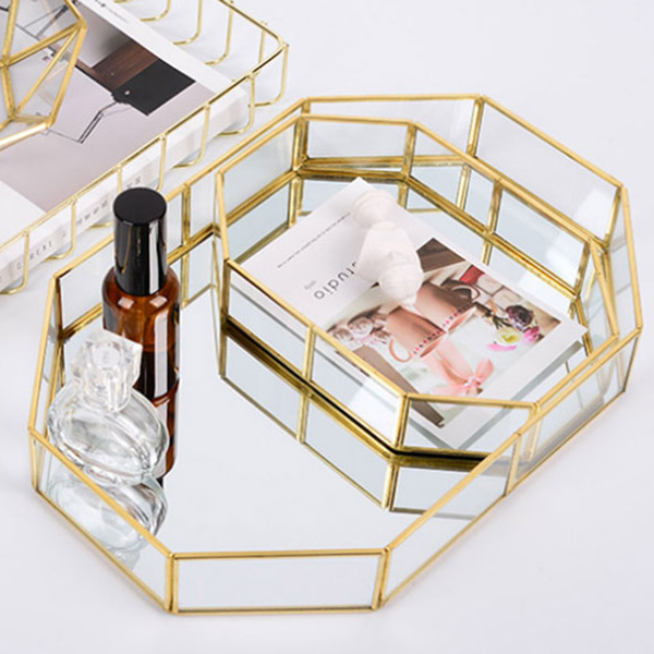Nordic Style Glass Copper Geometry Storage Baskets Box Simplicity Style Home Organizer For Jewelry Necklace Dessert Plate(China)