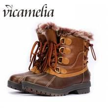 Vicamelia 2018 Winter Boots Women Duck Fur Furry Heel Platform Boots Leather Waterproof Ladies Snow Boots Flat Woman Shoes